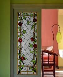 stained glass door panel with art craft
