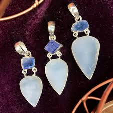 raw blue chalcedony and tanzanite pendants