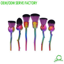 colorful hair fan makeup brushes