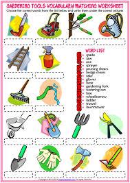 gardening tools esl matching exercise