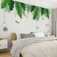 Hot Deal Fe90 Home Tropical Jungle Green Leaves Wall Sticker Decoration Living Room Restaurant Seaside Plant Swallow Art Wall Mural Decal Fy Seamon Co