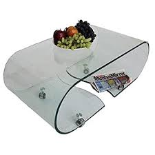 axis white coffee table with bent glass