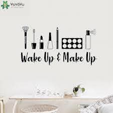Wake Up And Make Up Stickers Vinyl Decal For Girls Room Bedroom Art Decoration Beauty Salon Wall Decals Delicate Makeup Qq40 Wall Stickers Aliexpress