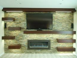custom wall unit with rock wall