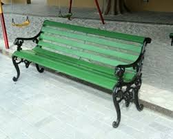 frp strip cast iron leg garden bench