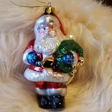 hand blown glass vintage santa ornament