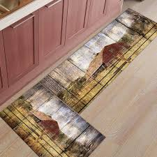 western country red barn print doormat