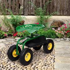 green rolling garden cart work seat