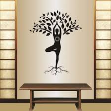 Amazon Com Wall Vinyl Decal Home Decor Art Sticker Yoga Tree Pose Girl Woman Exercise Meditation Relax Fitness Room Removable Stylish Mural Unique Desig Home Kitchen