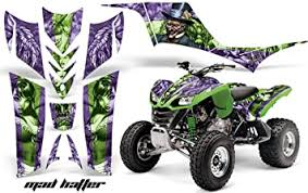 Amazon Com Amr Racing Atv Graphics Kit Sticker Decal Compatible With Kawasaki Kfx 700 2004 2009 Mad Hatter Green Purple Automotive