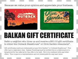 olive garden or outback gift certificates