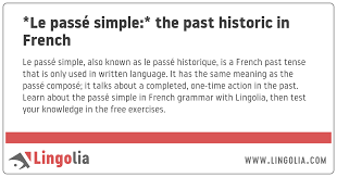 the past historic in french