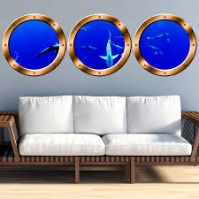 Vwaq School Of Sharks Submarine Window Portholes Underwater Scene Wall