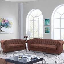 suite tan leather chesterfield