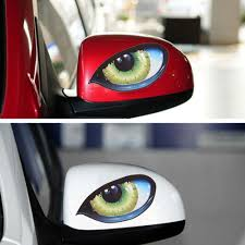 2pcs 3d Stereo Reflective Cat Eyes Car Sticker Adhesive Rearview Mirror Decal Archives Midweek Com