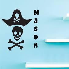 Personalized Name Vinyl Decal Sticker Custom Initial Wall Art Personalization Decor Sticker Pirate Skull Bones Hat Sword Boys Bedroom Skull 10 Inches X 18 Inches Walmart Com Walmart Com
