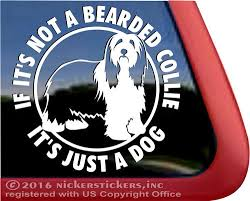 Bearded Collie Dog Stickers Decals Nickerstickers