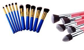kabuki makeup brush set 10 pc