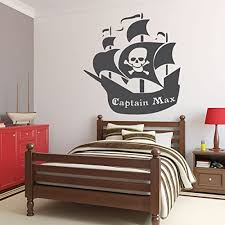 Amazon Com Customvinyldecor Custom Name Pirate Ship Wall Decal Personalized Removable Vinyl Sticker For Boy Or Girl Bedroom Playroom School Classroom Nursery Preschool Black White Other Colors Handmade