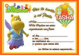 Tarjeta De Invitacion De Backyardigans Tasha Tarjetas De