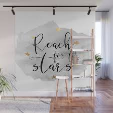 Reach For The Stars Stars Gift Stars And The Moon Kids Room Decor Watercolor Print Gold Star Wall Mural By Tomoogorelica Society6