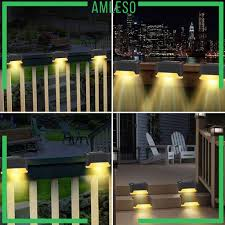 Amleso Solar Deck Lights Led Stair Lights Outdoor Garden Waterproof Step Fence Lights Shopee Philippines