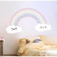 Shop Watercolor Rainbow Wall Decals Nursery Vinyl Sticker Overstock 32034724