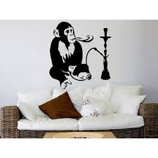Shop Hookah Wall Decal Relax Arabic Wall Decals Monkey Vinyl Sticker Decal Size 48x57 Color Black Overstock 14057118