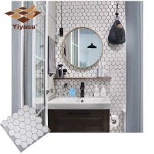 Hexagon Off White Vinyl Sticker Self Adhesive Wallpaper 3d Peel And Stick Square Wall Tiles For Kitchen And Bathroom Backsplash Wall Stickers Aliexpress