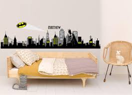 Batman Gotham City Buildings Vinyl Wall Decal Sticker City Night Skyline Marvell Kids Wall Decor