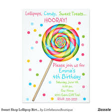 Invitaciones Dulces Del Cumpleanos Del Lollipop De Zazzle Com