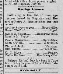 Arthur Shreckengost marriage license - Newspapers.com