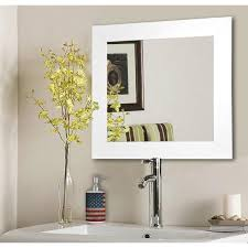 glossy white square vanity wall mirror