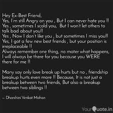 hey ex best friend yes quotes writings by dharshini