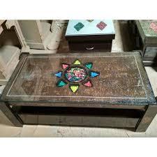 glass top brown designer center table