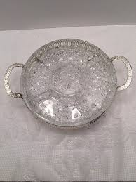 clear glass divided serving tray