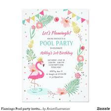 Flamingo Pool Party Invitation Tropical Birthday Zazzle Com