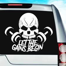 Let The Gains Begin Skull Dumbbells Bodybuilding Decal Sticker