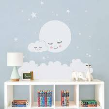 Moon Stars Wall Decal Cloud Nursery Wall Stickers For Kids Room Decal Nursery Wall Sticker Girls Decorative Vinyl Babies T180838 Wall Stickers Aliexpress