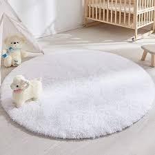 Amazon Com Soft Round Rug For Bedroom 5 X5 White Rug For Nursery Room Fluffy Carpet For Kids Room Shaggy Floor Mat For Living Room Furry Area Rug For Baby Teen Room Decor For