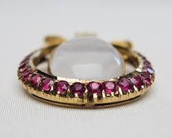 edwardian moonstone ruby pendant