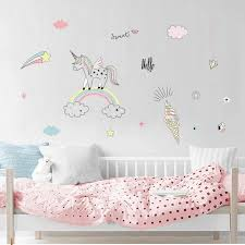 Cute Unicorn Rainbow Ice Cream Cloud Wall Stickers Pvc Wall Decals For Kids Girl Children Room Diy Poster Wallpaper Home Decor Wall Stickers Aliexpress