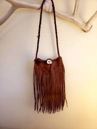 small cross leather fringe purse