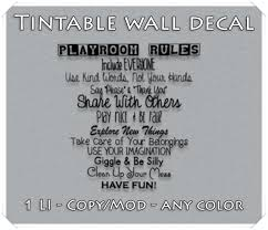 Second Life Marketplace Playroom Rules Wall Decal Tintable