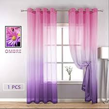 Amazon Com Yzhome Pink And Purple Sheer Curtains For Kids Room Bedroom Cute Pastel Gradient Ombre Lavender Voile Drapes Grommet Top Faux Linen Window Curtain For Living Room 1 Panel 52 X 84 Inch Pink To