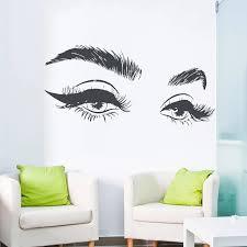 Hot Selling Beautiful Eye Eyelashes Wall Sticker Decal Modern Vinyl Girls Eyebrows Eyes Wall Decals Home Decor Salon Beauty D331 Wall Stickers Aliexpress
