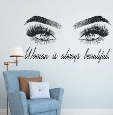 Woman Make Up Wall Sticker Eye Eyelashes Wall Decal Lashes Extensions Beauty Shop Decor Eyebrows Brows Mural Wall Stickers Eyes Music Wall Stickers Wall Decals