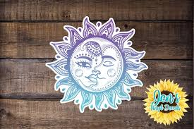 Sun And Moon Car Decal Yin And Yang Psychedelic Sticker Etsy