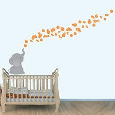Orange Wall Decal For Nursery Elephant Bubbles Stickers Baby Room Decor Nursery Decals Elephant Nursery