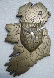map of ireland wall clock with